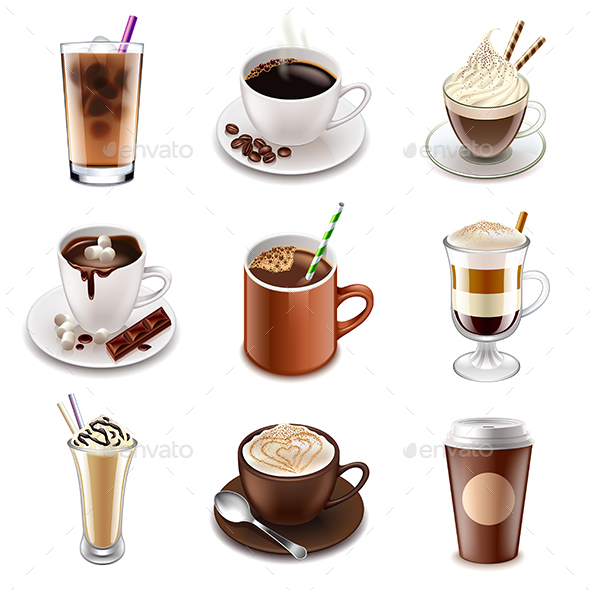 Coffee Drinks Icons Vector Set - Food Objects