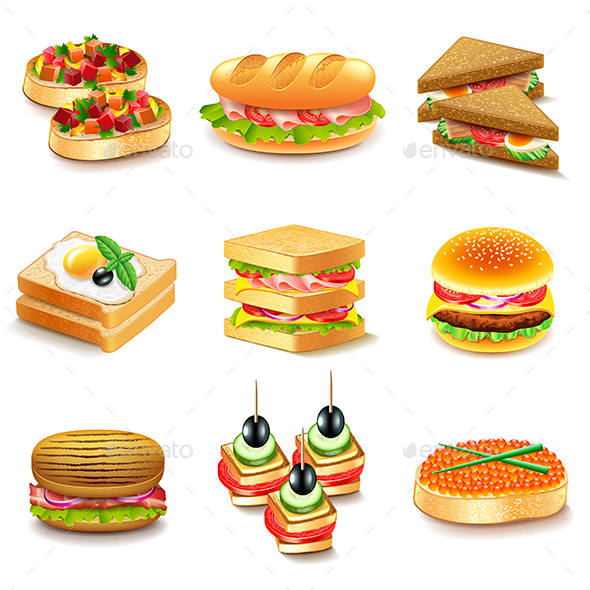 Sandwiches Icons Vector Set - Food Objects