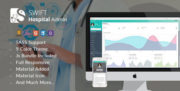 Swift Hospital – Responsive Material Admin for Doctors & Hospitals