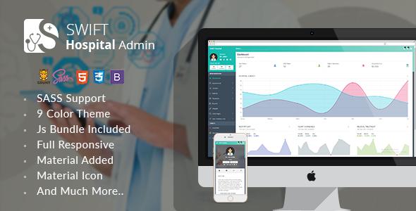 Swift Hospital – Responsive Material Admin for Doctors & Hospitals