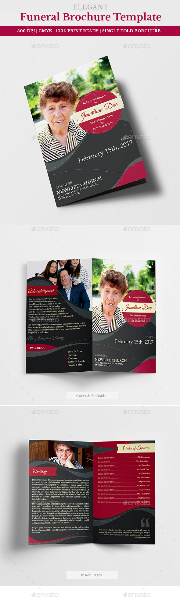 Funeral Program Brochure Template 05 - Miscellaneous Print Templates