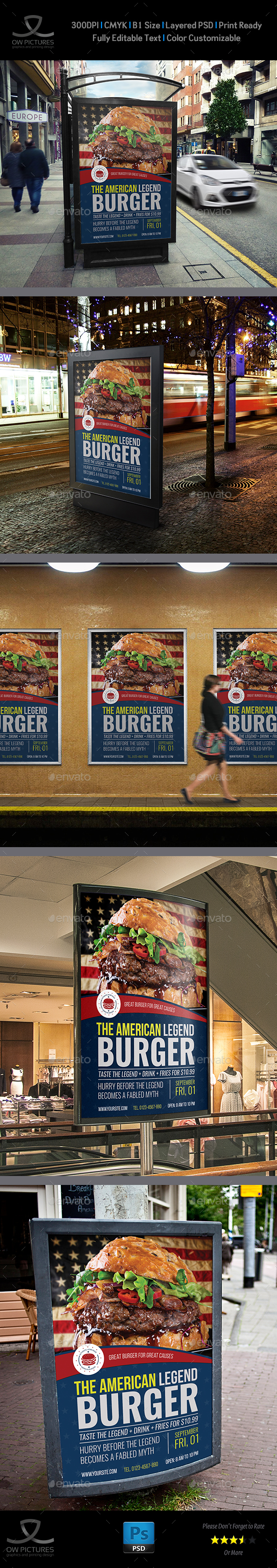 Burger Restaurant Poster Template Vol.5
