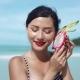 Woman Holding Dragon Fruit, Beauty Concept