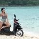 Freedom Concept, Hippie Woman on Her Motorbike