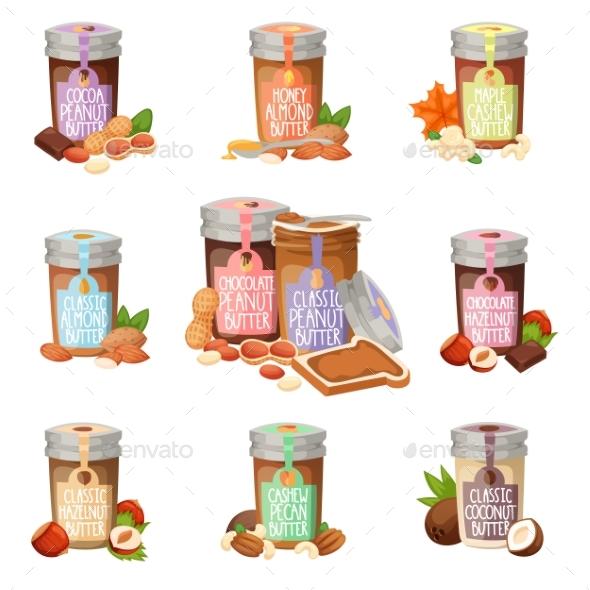 Peanut Butter Vector Flat Design Illustration Jar. - Backgrounds Decorative