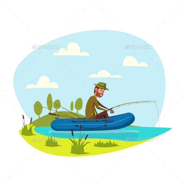 Fisher Man Fishing on Boat with Fish Rod Vector - Sports/Activity Conceptual