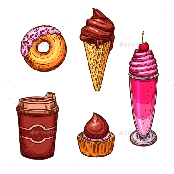 Pastry Desserts and Sweets Vector Sketch Icons - Food Objects