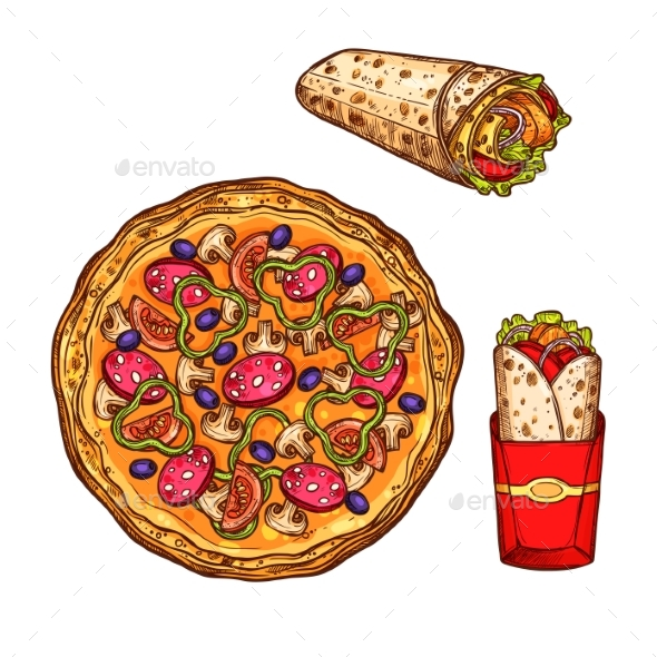 Fast Food Pizza, Doner Burrito Vector Sketch Icons - Food Objects
