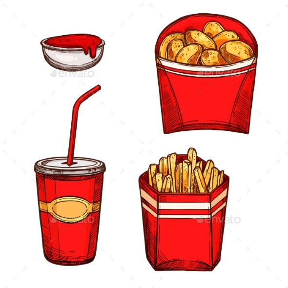 Fast Food Snacks, Drinks Vector Isolated Icons - Food Objects