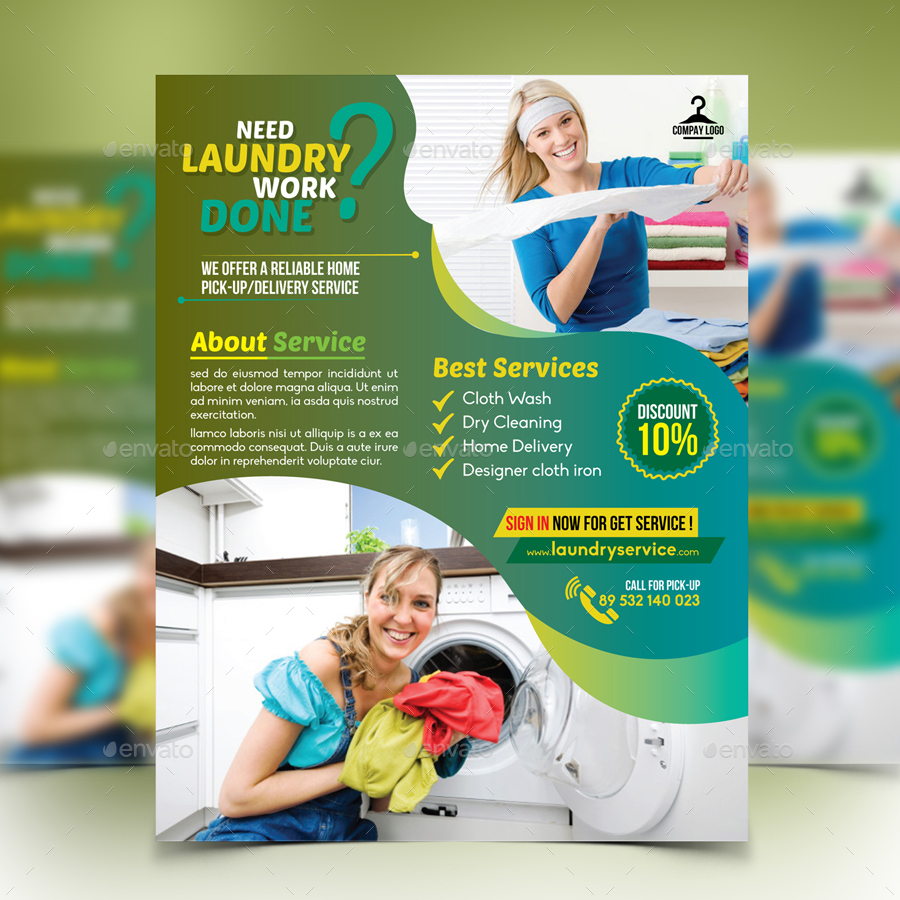 laundry flyers templates - laundry service flyer by design station graphicriver