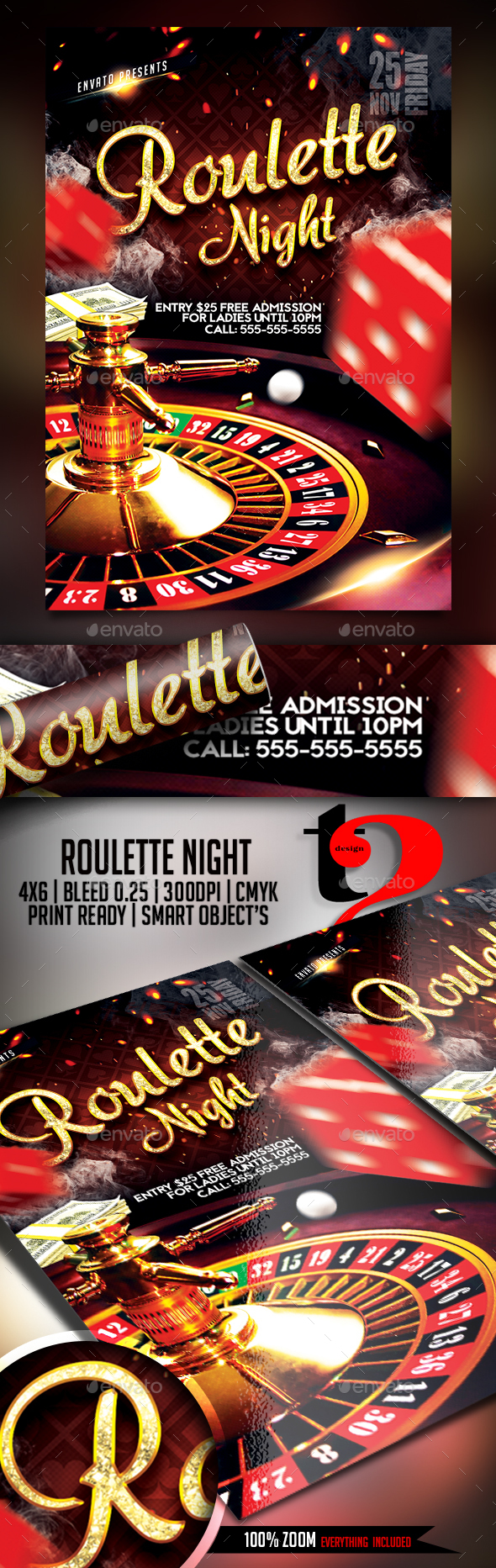 Roulette Night Flyer Template - Clubs & Parties Events