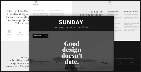 Sunday Onepage Personal/Portfolio WordPress Theme
