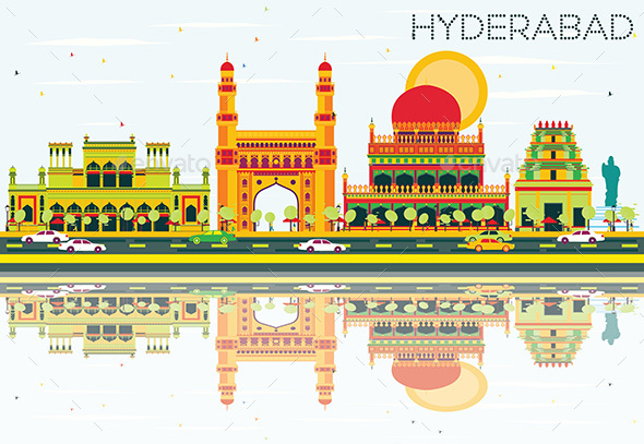 Abstract Hyderabad Skyline with Color Landmarks and Reflections. - Buildings Objects