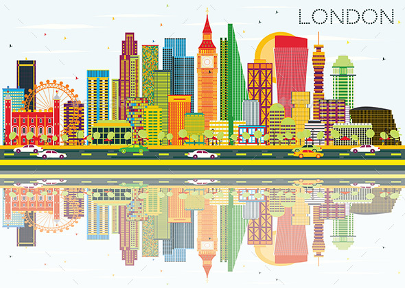 Abstract London Skyline with Color Buildings and Reflections. - Buildings Objects