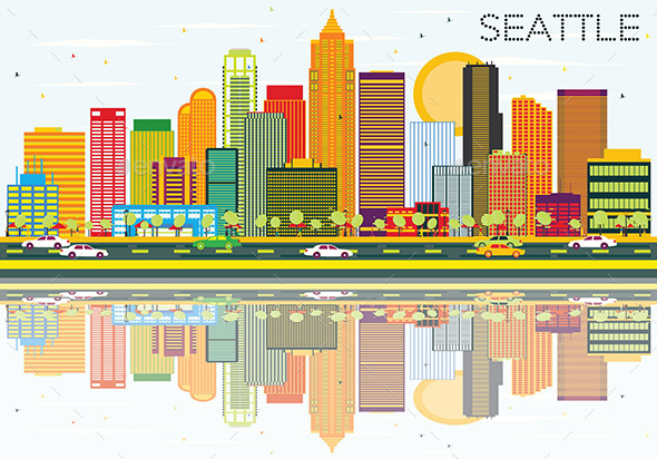 Abstract Seattle Skyline with Color Buildings and Reflections. - Buildings Objects
