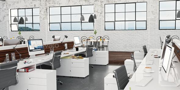 3D Render Loft Office Interior - Architecture 3D Renders