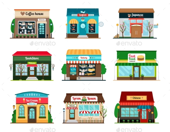 Shop and Cafe Colorful Icons - Buildings Objects