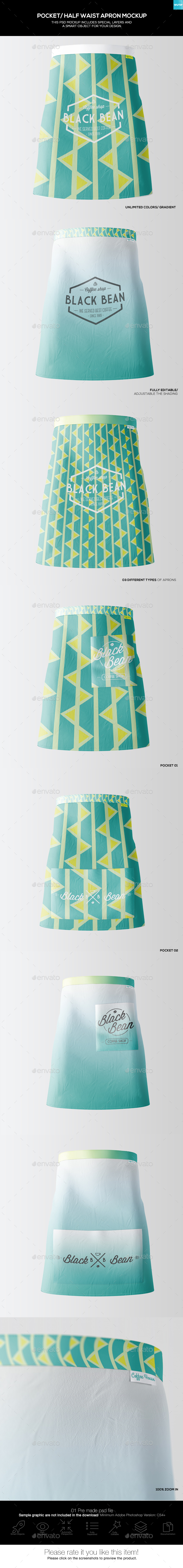 Half Waist Apron Mockup (3 Types)-02 - Miscellaneous Apparel