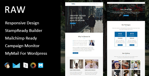 Raw - Multipurpose Responsive Email Template + Stampready Builder
