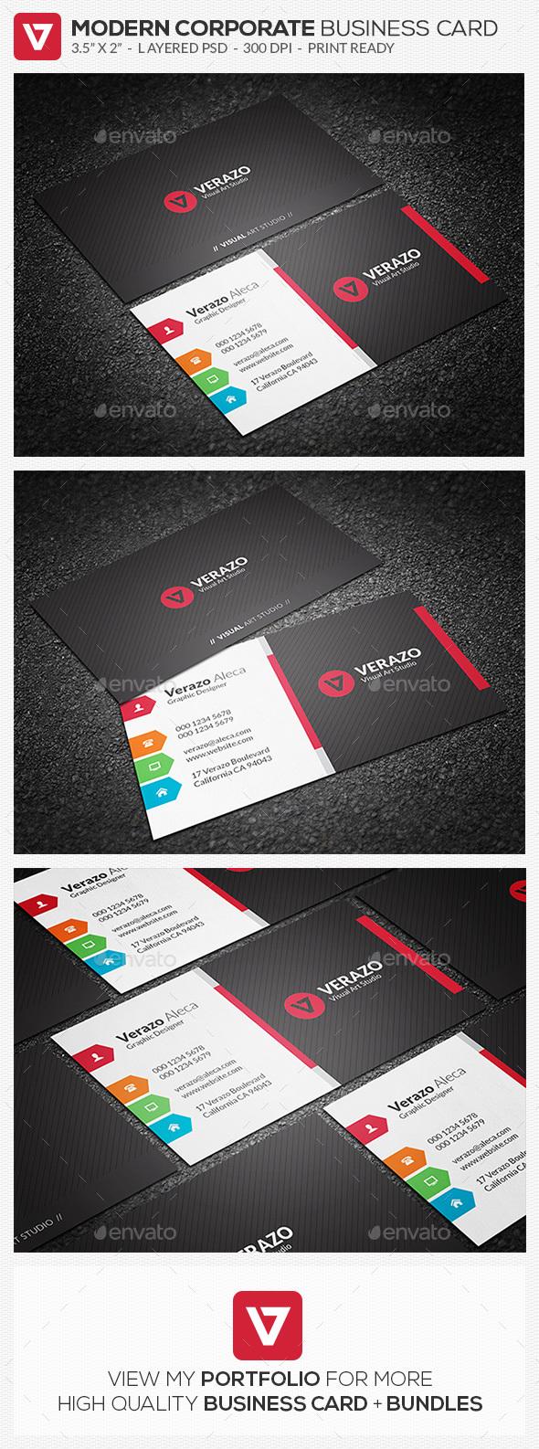 Multicolor Corporate Business Card Template - Corporate Business Cards