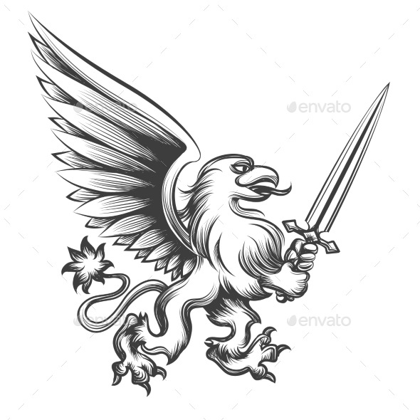 Engraving Griffin with Sword - Monsters Characters