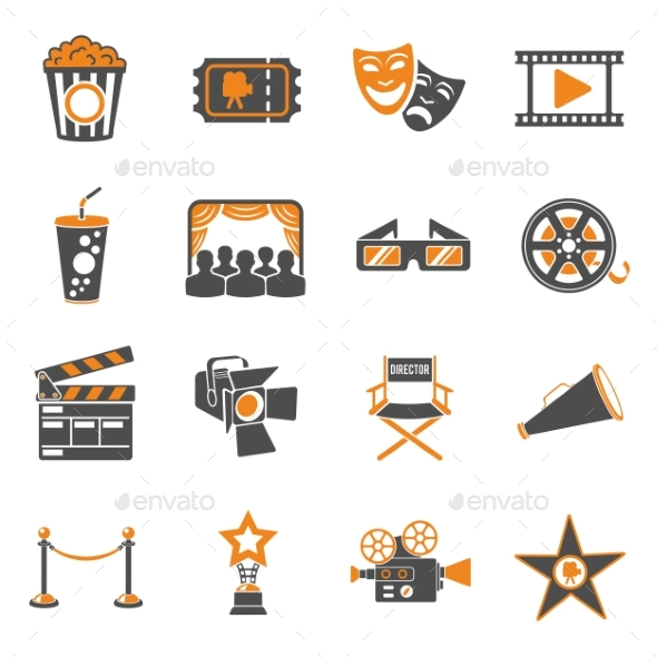 Cinema and Movie Icons Set - Concepts Business