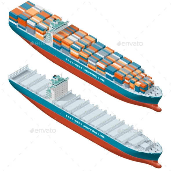 Container Ship Laden and Empty Isometric Icon Set - Miscellaneous Vectors