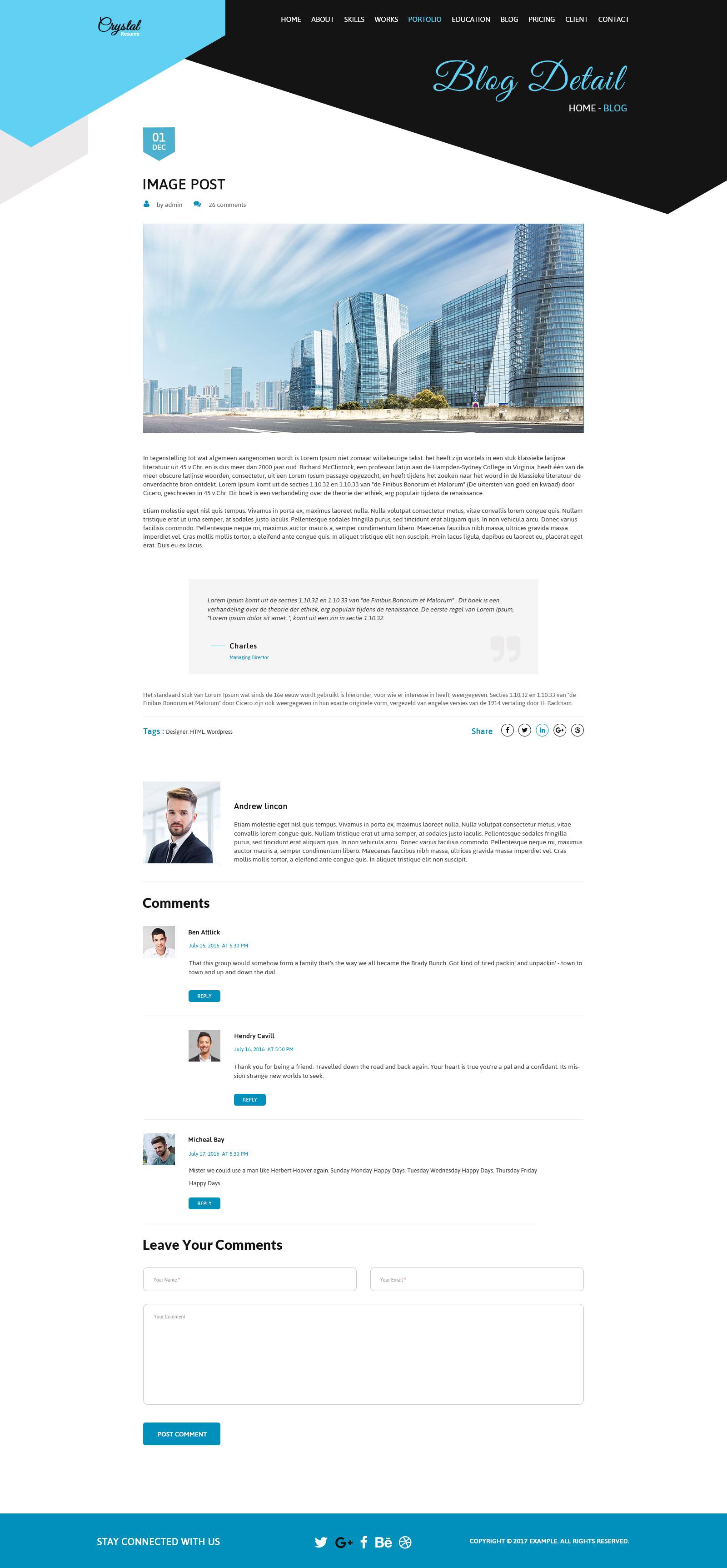 Crystal Resume CV PSD Template by creative themes