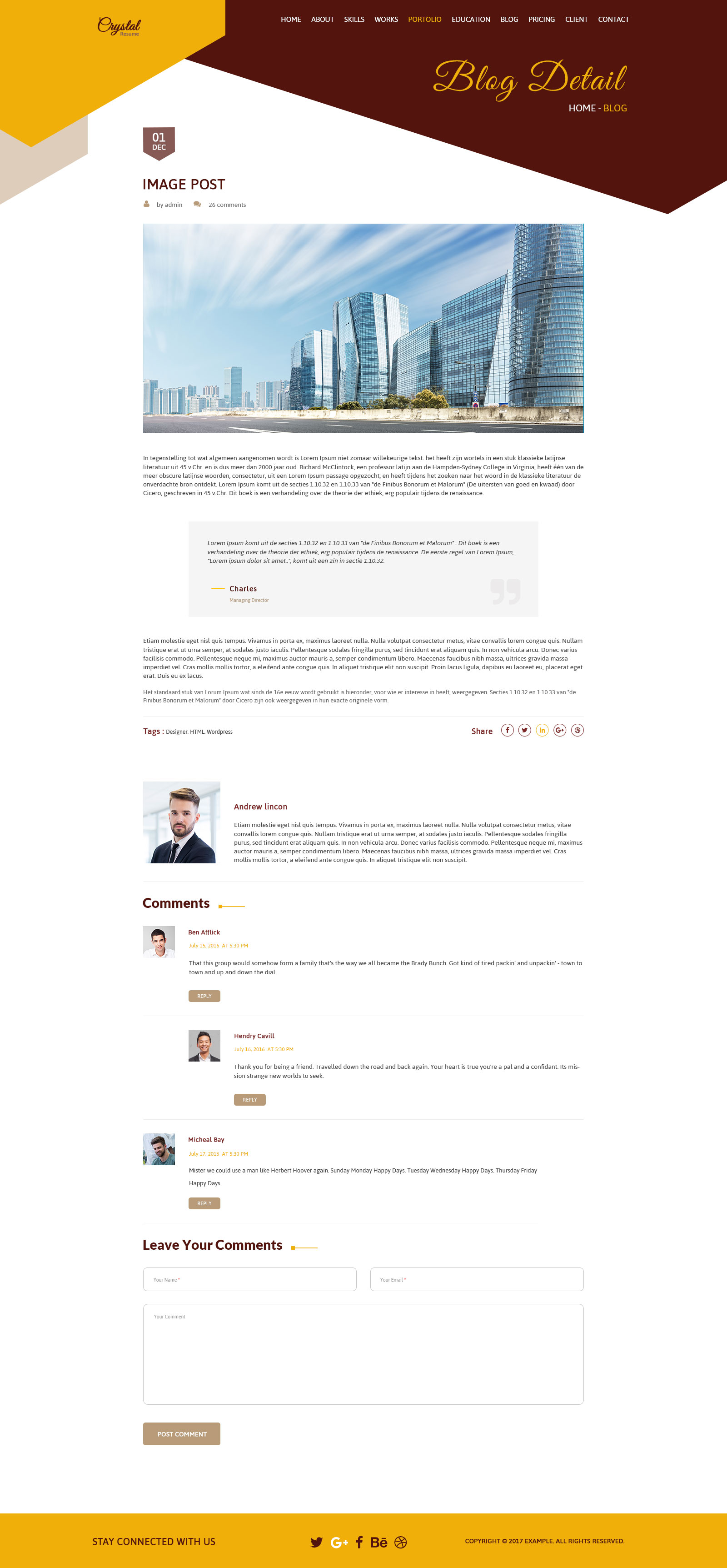 Crystal Resume - CV PSD Template by creative_themes | ThemeForest