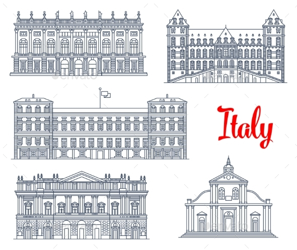 Famous Italy Buildings Architecture Vector Icons - Travel Conceptual