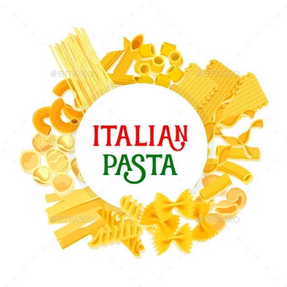 Italian Pasta and Spaghetti Vector Poster - Food Objects