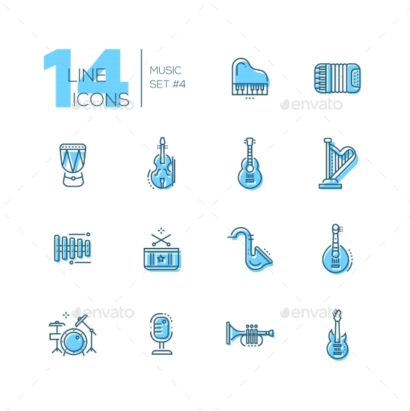 Musical Instruments - Line Icons Set - Web Elements Vectors