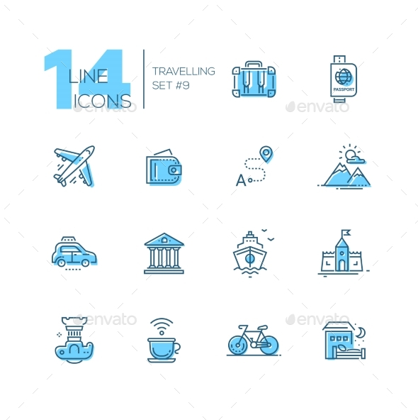 Traveling - Line Icons Set - Web Elements Vectors