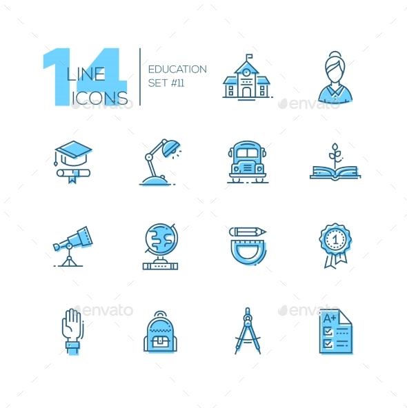 School and Education - Line Icons Set - Web Elements Vectors