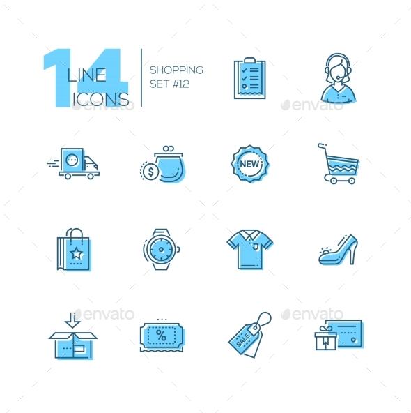 Shopping - Line Icons Set - Web Elements Vectors