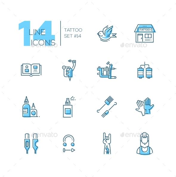 Tattoo Studio - Line Icons Set - Web Elements Vectors