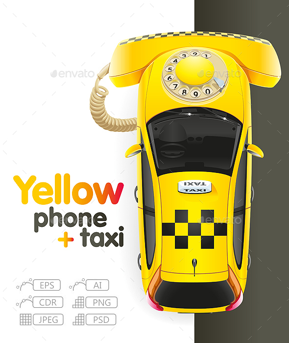 Taxi Yellow Phone - Services Commercial / Shopping