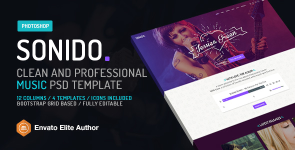 SONIDO. Music PSD website template for djs and singers.