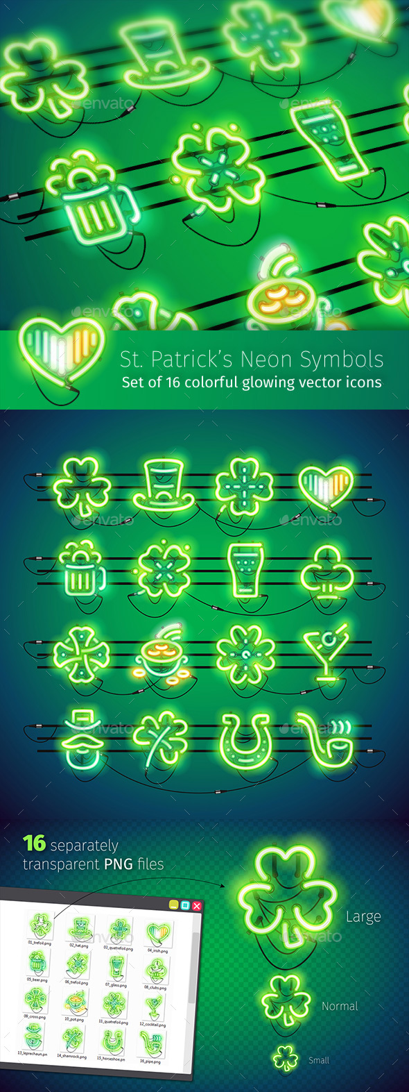 St. Patrick's Neon Icons - Miscellaneous Icons