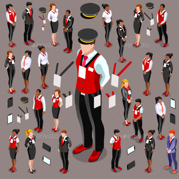 Isometric Person 3D Icon Set Collection Vector Illustration - People Characters