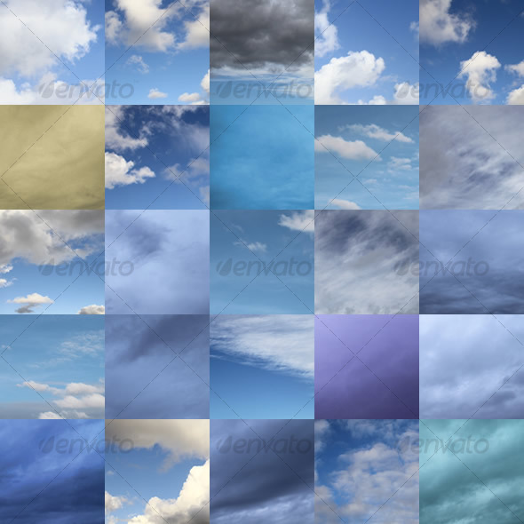 Set of 25 Clouds - Nature Backgrounds