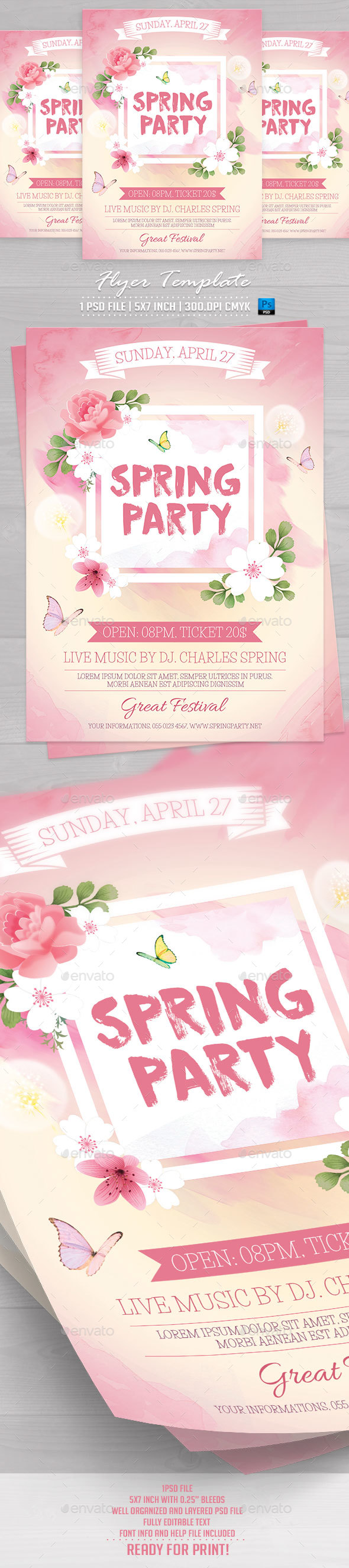 Spring Party Flyer Template v3 - Flyers Print Templates