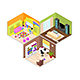 Interior Rooms of The House Isometric View - GraphicRiver Item for Sale