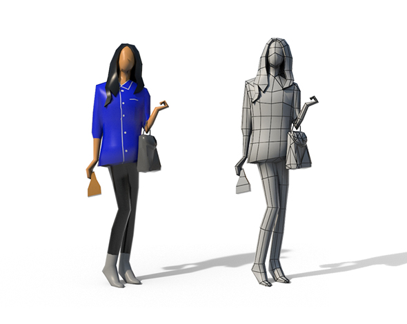 Low Poly Girl 02 - 3DOcean Item for Sale