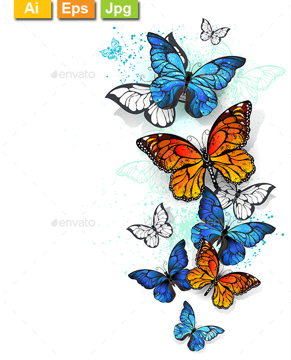 Flying Butterflies Morpho and Monarch - Animals Characters