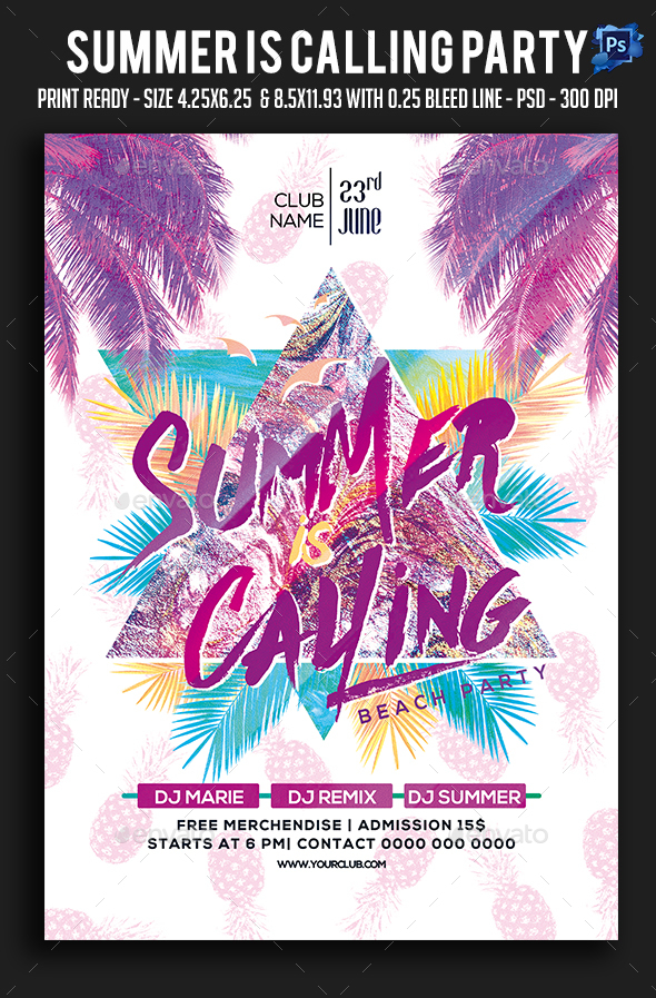 Summer Is Calling Party Flyer - Clubs & Parties Events