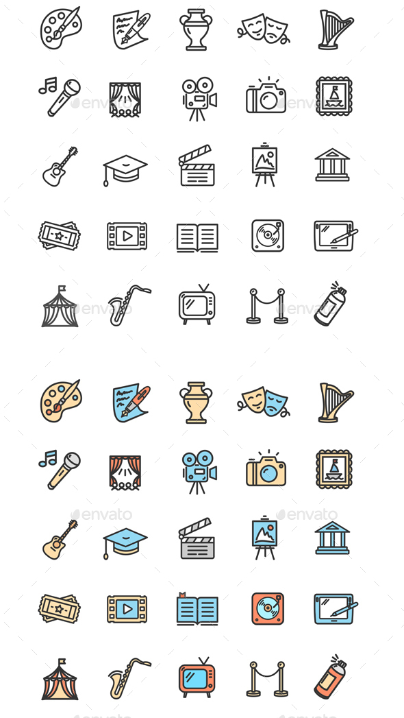 Culture and Creative Fine Art Icons Set - Miscellaneous Vectors