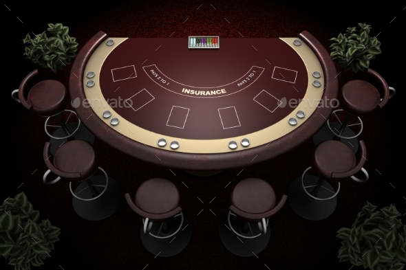 Blackjack Table and Chairs 3d Illustration - Miscellaneous 3D Renders
