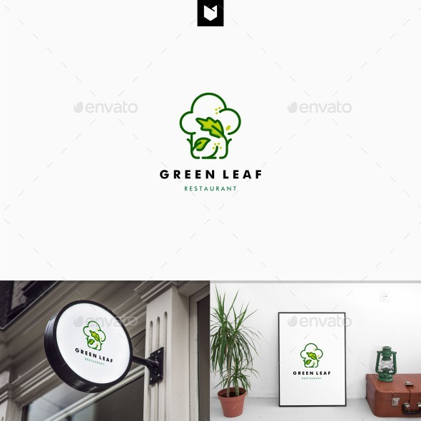 Green Leaf Restaurant Logo - Food Logo Templates