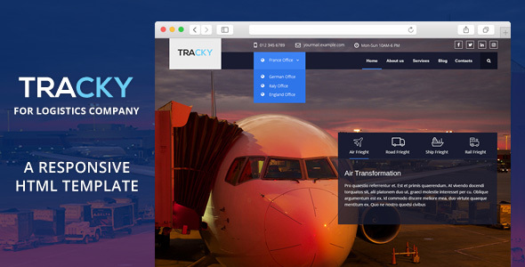Tracky – Transport & Logistic Responsive HTML Template